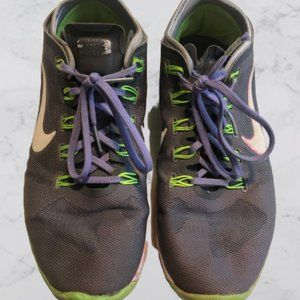 Green, Gray, & Purple Running Nike Shoes